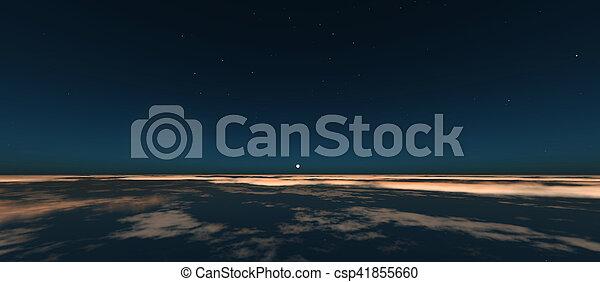 planet, sonnenaufgang, raum - csp41855660