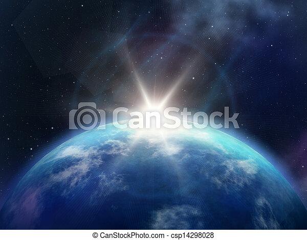 planet, sonnenaufgang - csp14298028