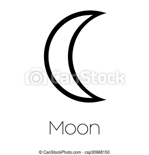 Illustrated Planet Symbols Moon