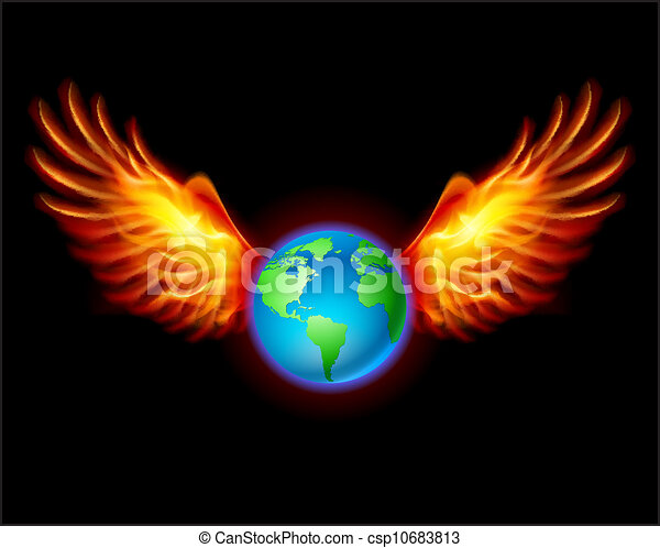 Planet the Earth with fiery wings - csp10683813
