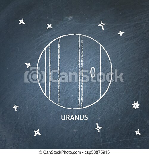 Planet Uranus icon on chalkboard - csp58875915