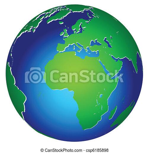 planet, welt, global, erde, ikone - csp6185898