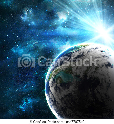 planet with a flash of sun, abstract background - csp7787540