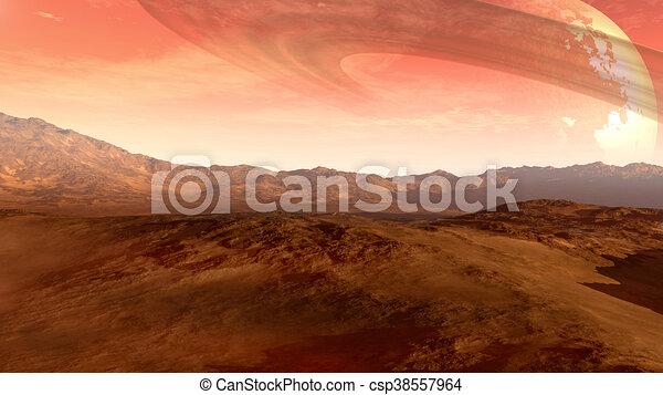 planeta, anillado, rojo, luna - csp38557964