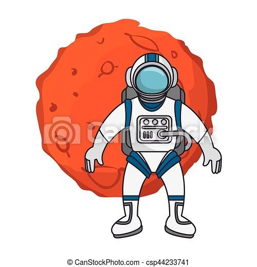 Planeta del sistema solar con astronauta - csp44233741