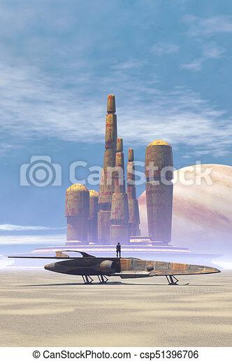 planeta, ciudad, luchador, desierto, espacio - csp51396706