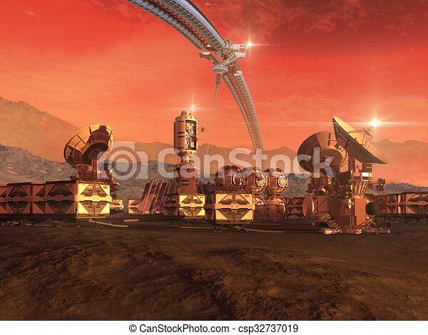 planeta, colonia, rojo - csp32737019