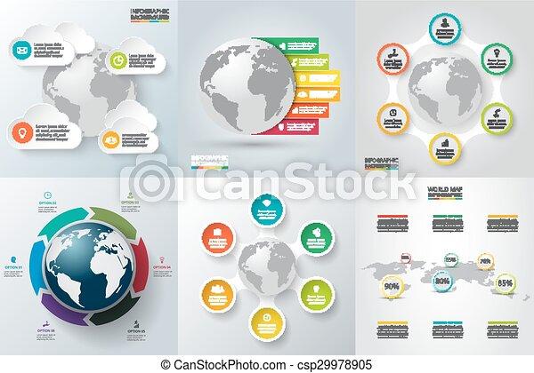 planeta, conjunto, earth., vector, infographics - csp29978905