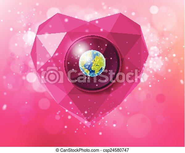 Corazón de vector de polígonos con el planeta Tierra - csp24580747