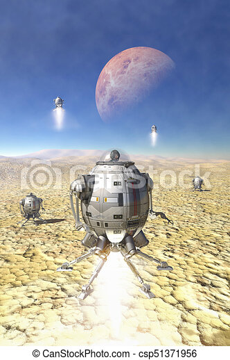 planeta, desierto, aterrizaje, nave espacial - csp51371956