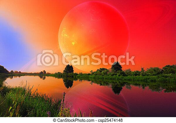 Un paisaje fantástico con un gran planeta sobre un río tranquilo - csp25474148