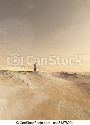 planeta, exploración, futuro, desierto, soldado - csp51378204