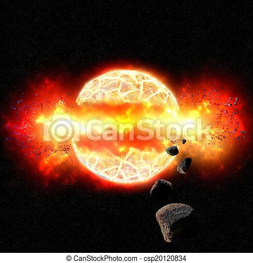Explosiva explosión de planeta en el espacio exterior - csp20120834