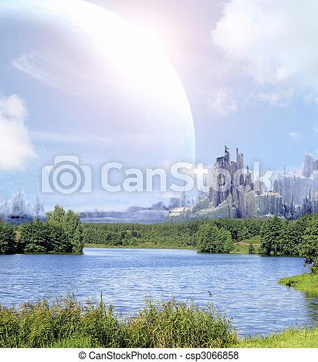 planeta, fantasía, paisaje - csp3066858