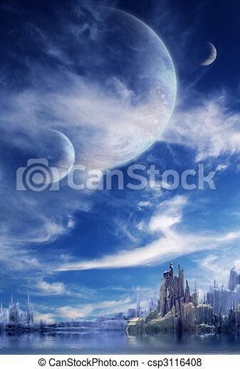 planeta, fantasia, paisagem - csp3116408