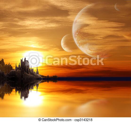 planeta, fantasia, paisagem - csp3143218