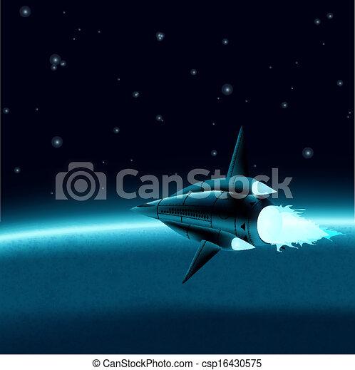 Nave espacial frente a un planeta - csp16430575