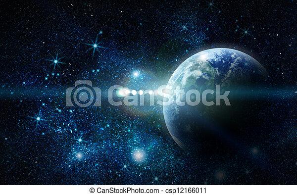 Planeta Realista Tierra en el espacio - csp12166011