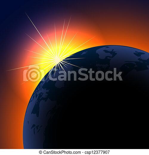 El sol se eleva sobre el planeta con espacio de copia. - csp12377907