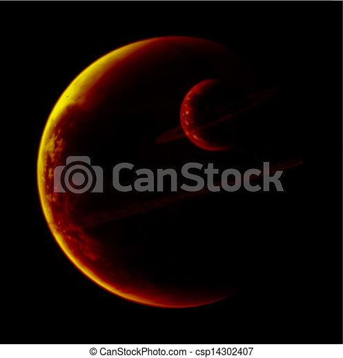 planeta, vector, anillos, cosmos. - csp14302407