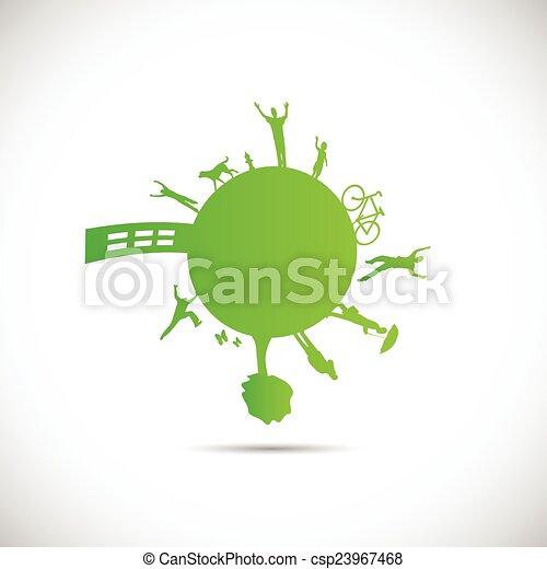 La ilustración del planeta verde - csp23967468