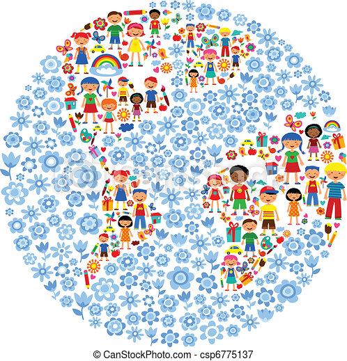 planeta, vetorial, crianças, ilustração, coloridos - csp6775137