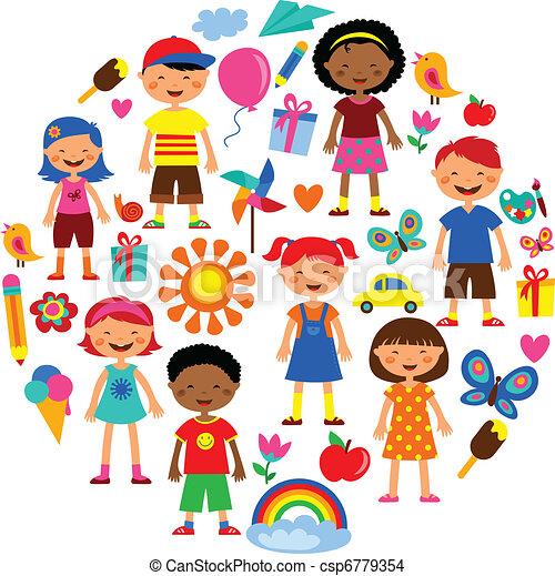Planeta Vetorial Criancas Ilustracao Coloridos Coloridos