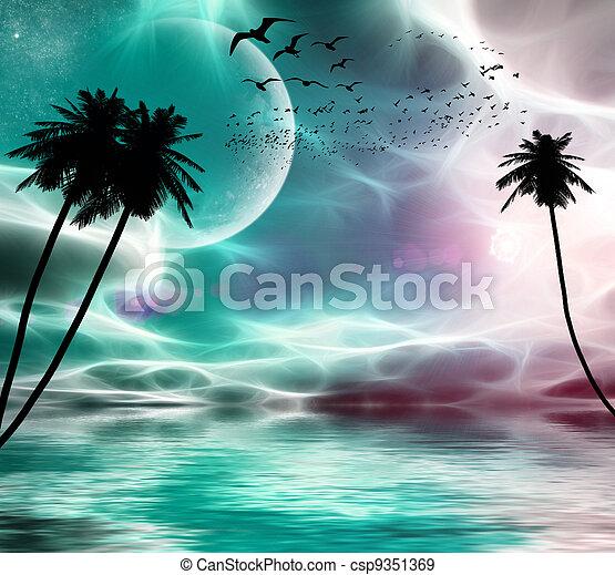 Pájaros voladores en el fondo del planeta, estrellas, palmeras al atardecer - csp9351369