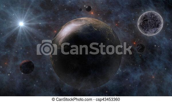 Planeta Tierra, el sol, la luna y los planetas en el espacio 3D representando - csp43453360