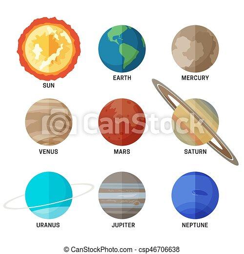 Planetas Del Sistema Solar Iconos Planos De Planetas