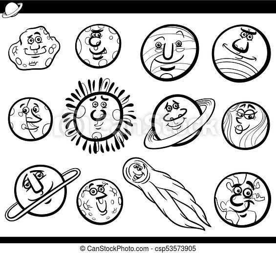 Planets Cartoon Characters Set Coloring Book