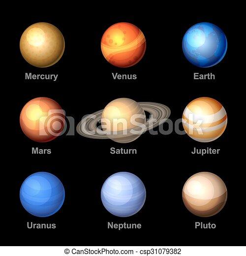 Glossy Color Planets Of Solar System Icons Vector