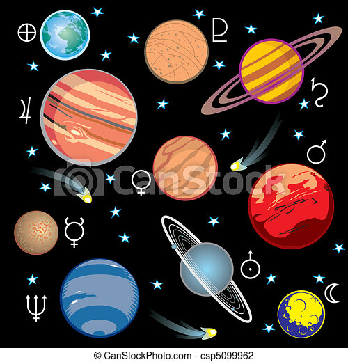 planets solar system collection of vector images of planets rh canstockphoto com Solar System Clip Art astronomical clipart