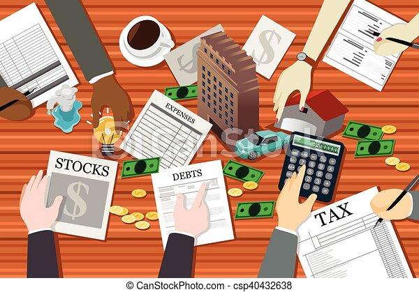 Gente trabajando en planificación financiera - csp40432638