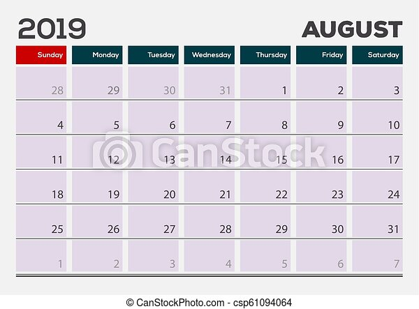 Calendario 2019 Agosto A Diciembre.Planificador Agosto Diseno Calendario 2019 Template