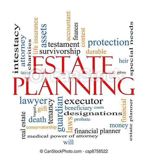 planification, concept, mot, propriété, nuage - csp8758522