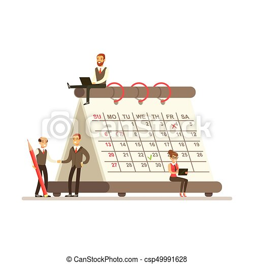 Calendrier Geant.Planification Operations Geant Fonctionnement Business Seance Jeune Illustration Calendrier Micro Papier Vecteur Ensemble Equipe