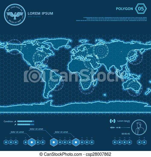 planisphère, polygone, hud, écran, bleu - csp28007862