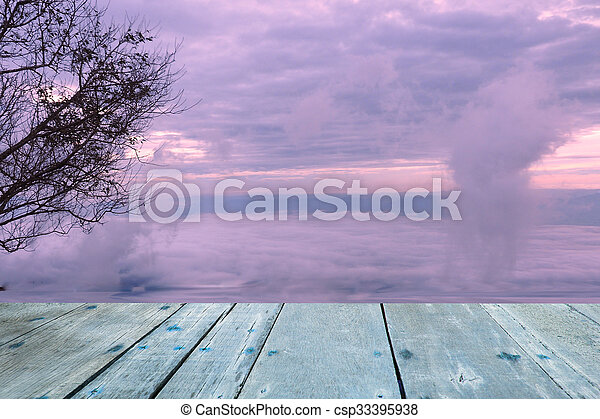Planks Trees blurred background sky