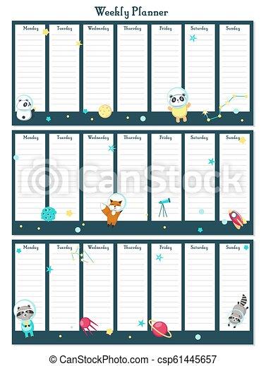 planläggare, djuren, utrymme, vektor, mall, varje vecka - csp61445657