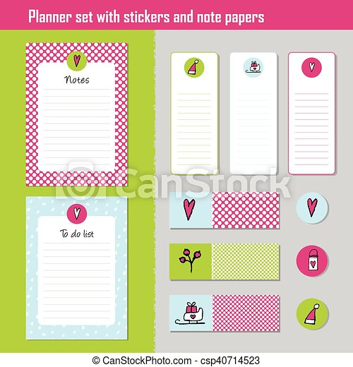 planner set note paper notes to do list organiser planner template note paper set of new year and christmas stickers