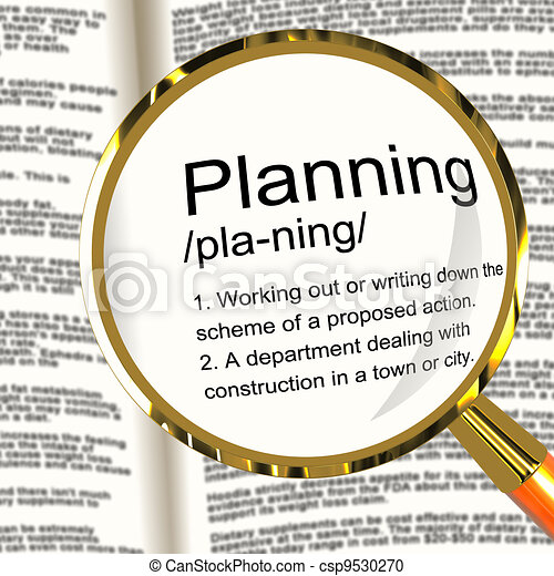Planning Definition Magnifier Shows Organizing Strategy And Scheme - csp9530270