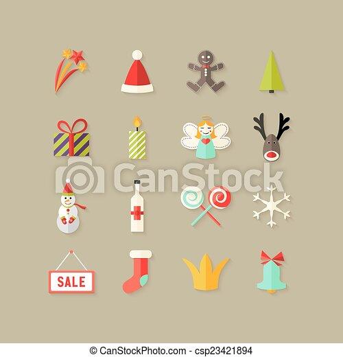 Los iconos del piso de Navidad son 3 - csp23421894