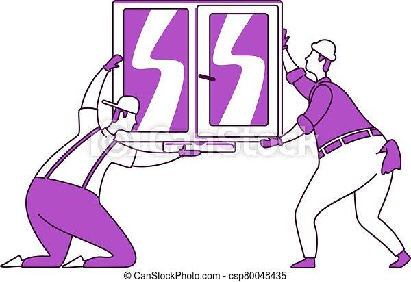 plano, aislado, illustration., estilo, 2d, grupo, handymen, reparador, reparaciones, silueta, dibujo, carácter, ventana, instalación, contorno, simple, blanco, vector, vidrio., hogar, fondo. - csp80048435
