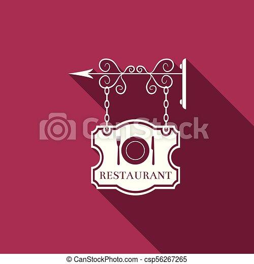 Anuncios de cartel al aire libre con restaurantes textuales y cubiertos, platos, tenedores, icono de cuchillos aislados con larga sombra. Señal de restaurante. Diseño plano. Ilustración de vectores - csp56267265