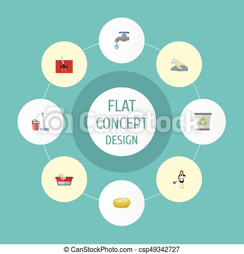 Ama de casa de iconos planos, aspiradora de alfombra, toalla y otros elementos vectoriales. Un conjunto de iconos planos de higiene también incluye bast, fregar, objetos de sirvienta. - csp49342727