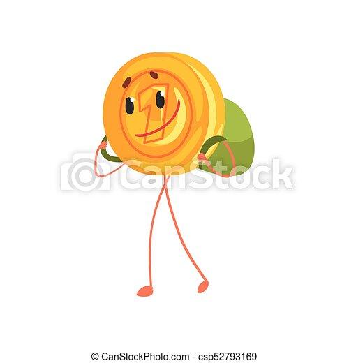Sonriendo un personaje con mochila en la espalda. Un ícono de oro de dibujos animados. Ahorrando dinero y concepto bancario. Ilustración vectorial plana - csp52793169
