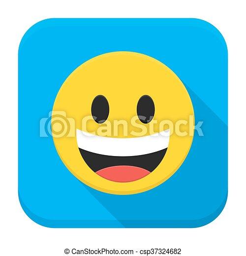 Cara amarilla sonriente cara plana icono de aplicación - csp37324682
