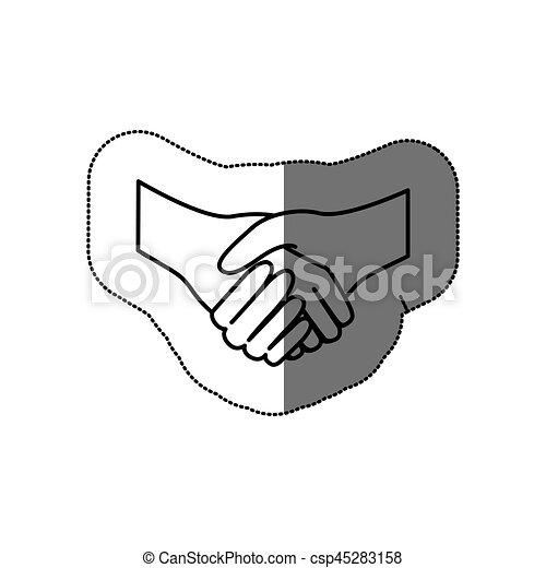 Silueta de etiqueta de apretón de manos - csp45283158