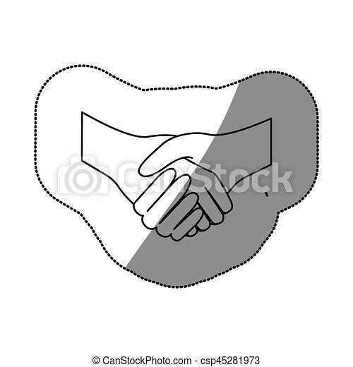 Dibujo de sticker silueta apretón de manos icono del acuerdo - csp45281973